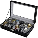 JINRUI Espositore per Orologi In Finta Pelle PU Leather Watch Box Organizer Watch Case Jewelry Box Watch Jewelry Display Storage with Glass Top Classic Gray inner integument and Black surface appearance (12 orologi)