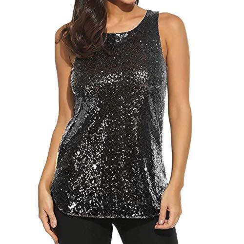 Produp Mode Damen Tops Sleeveless Solid Color Sparkle Shimmer Leibchen Weste Glitter Pailletten Tank Tops