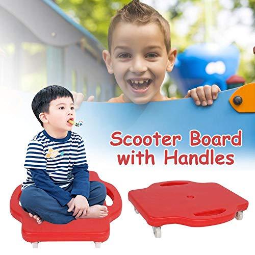 Kinderscooter Board mit Sicherheitsgriffen - Kinderscooter Board aus Kunststoff mit drehbaren Rollen für Jungen, Mädchen, Kinder, 16 Zoll -