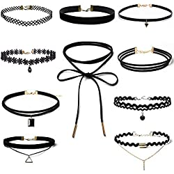 Set de Choker de 10 Piezas, choker collares elš¢stico terciopelo Classic adhesivo de gš®tico Encaje Gargantilla Collares para Mujeres y Chicas, Negro