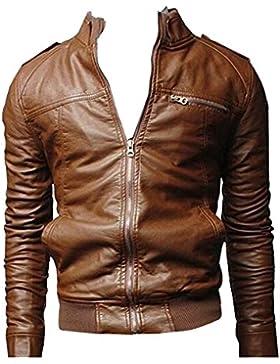 Chaqueta de Cuero de Imitación con Cremallera Moto Jacket Abrigo Para Hombre - Marrón Claro / L