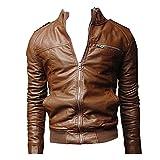 Uomo Giacca con Cerniera in Pelle PU Jacket Slim Fit Cappotto Cappotti Pelle Artificiale - Marrone Chiaro / S