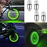 Tapones de válvula de rueda con luces LED, para bicicleta o coche, color verde, 4 unidades