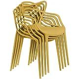 Masters silla Set de 4, plástico, mostaza, estándar