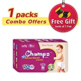 #10: Champs High Absorbent Premium Pant Style Diaper (Pack of 1)(Free 1-Pair Socks)| Premium Pant Diapers | Premium Diapers | Premium Baby Diapers | anti-rash and anti-bacterial diaper | … (X-Large, 32)