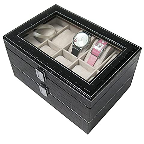 Excelvan® Designer Watches Display Box, Faux Leather Double-layer 20 grid watch display box Jewelry Storage Organizer , Ideal for home jewelry Decoration.