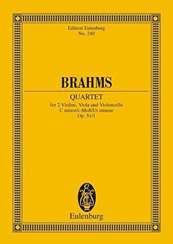 Streichquartett c-Moll: op. 51/1. Streichquartett. Studienpartitur. (Eulenburg Studienpartituren)