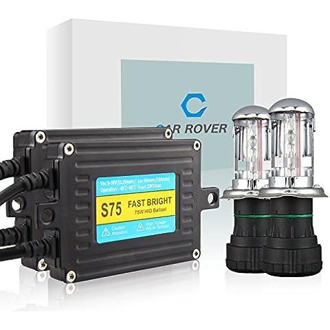 Car Rover® 75W H4-3 Bixenon Xenon HID Kit di Conversione con Fast Luminosa Zavorra Lampada del Faro 6000K