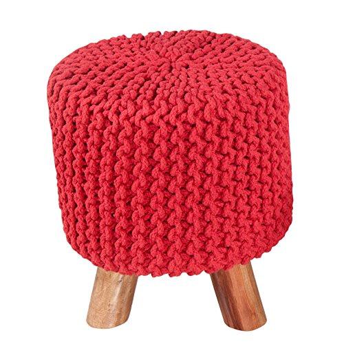 homescapes-taburete-puff-tejido-redondo-con-patas-de-madera-color-rojo-32-x-32-x-42-cm