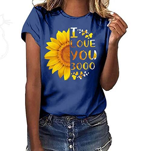 CUTUDE Bluse Sommer Damen Plus Size Sonnenblume Drucken Kurzarm T Shirt Bluse Tops (Marine, Small)