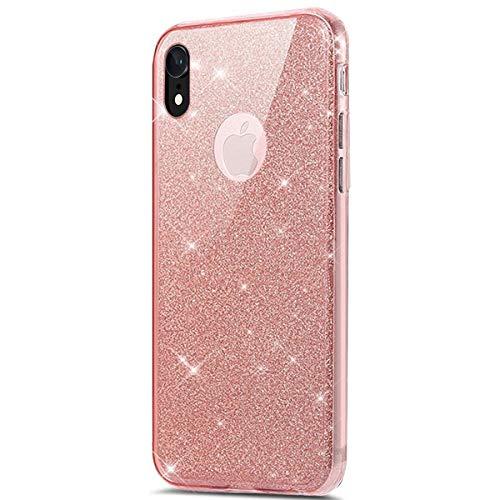 Funda Compatible con iPhone XR Carcasa 360 Grados Silicona,Transparente Silicona Cover Bling Glitter Brillante 360 Grados 3 en 1 Protección Ultra Delgado Suave TPU Case - Rosa