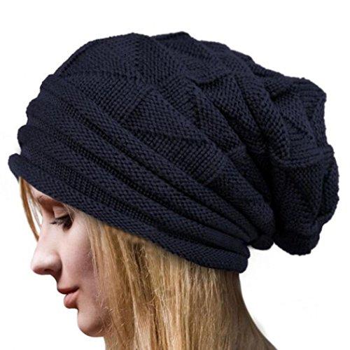 Tapas GillBerry 1PC mujeres Invierno Tejer tiene La lana de punto Tapas calientes (Armada)
