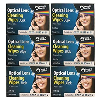 6 x Boxes Containing 30 Wipes = 180 Optical Lens Smear Free Wipes Spectacle Cleaner, Mobile Phone , Camera Lens, Binoculars , Helmet Visors. by TJM