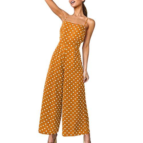 NPRADLA Jumpsuit Jumpsuits Damen Polka Dot Holiday Weite Hose Langer Overall Backless Riemchen...