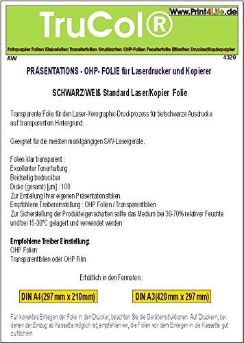 100 Blatt A4 Overheadfolie für s/w Laserdrucker und Kopierer (OHP Transparentfolie Transparentpapier)