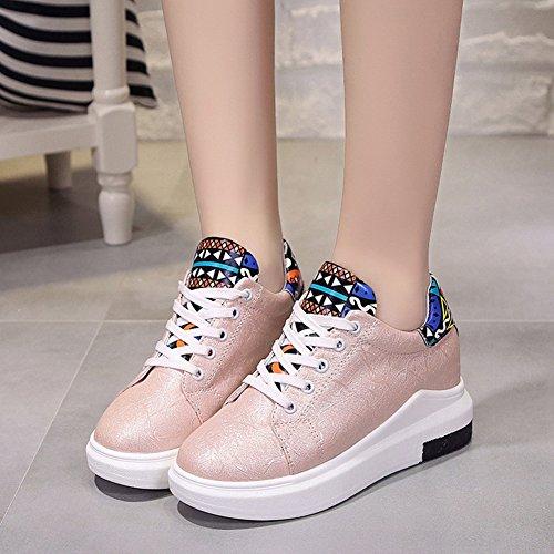 XTIAN , chaussures compensées femme rose bonbon