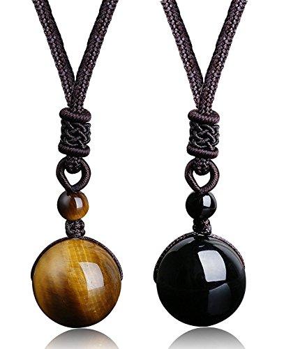 Besteel 2Piezas Collar con Colgante Piedra Natural para Hombre Mujer Pareja Collar Cuero Colgante Ojo de Tigre Ajustable black