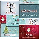 Weihnachtskarten-Set Grußkarten Weihnachten Weihnachtspostkartenset lustig...