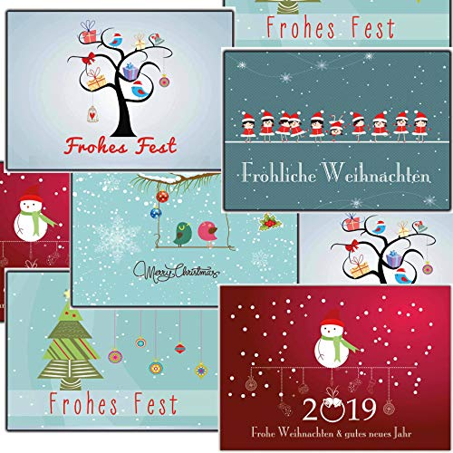 Grußkarten Weihnachten Weihnachtspostkartenset lustig 30 Stück Weihnachtspostkarten festlich elegant online bestellen traditionell mit Tieren Vögel Eule Tannebaum Winterlandschaft ()