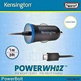 Kensington PowerBolt 2.6A/13W Super rapide Micro USB Câble de chargement chargeur voiture allume-cigare pour smartphones, tablettes, liseuses, GPS, casque sans fil/enceintes et autres appareils–avec la technologie Smart intelligent Powerwhizz qui Sélectionne en toute sécurité la sortie d'alimentation pour protéger votre appareil contre les dommages à long terme
