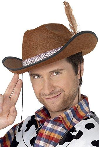 Smiffys, Unisex Dallas Filzhut mit Feder, One Size, Braun, (Kostüme Dallas Cowboys Halloween)