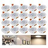 Hengda® 20 x 3W LED Einbauleuchte Wohnzimmer Decken Leuchte Lampe Spot Strahler Set 2800-3200k Warmweiß 85-265V AC IP44