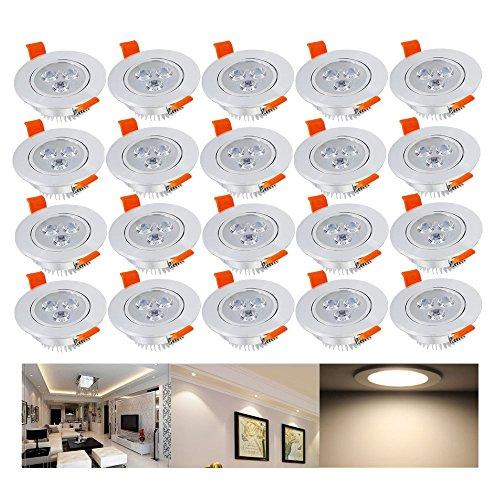 Hengda® 20 x 3W LED Einbauleuchte Wohnzimmer Decken Leuchte Lampe Spot Strahler Set 2800-3200k Warmweiß 85-265V AC IP44 (Bad-wärme-lampen)