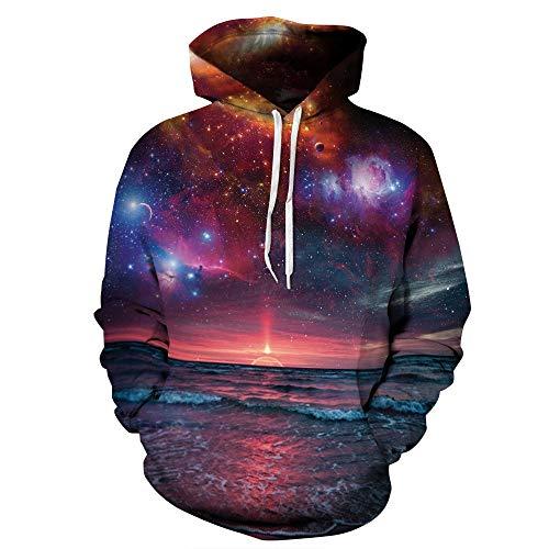 Meer Erwachsene Sweatshirt (Simmia Fashion Unisex 3D Print Lustige kreative Grafik Pullover Sonnenuntergang über dem Meer Kordelzug Hoodies mit großen Taschen Sweatshirts, XL)