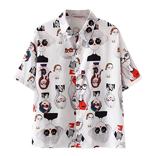 Damen Langarm Bluse V-Ausschnitt Katze Muster Druck Long Sleeve Pullover Shirt Tops Hemd-beiläufige lose Damenmode Vintage Hemdbluse -