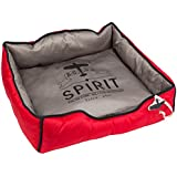 Washable Pet Dog Puppy Cushion Travel Pillow Bed Mat - Grey/Red Medium
