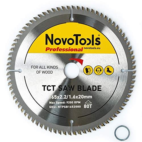NOVOTOOLS Lame de scie circulaire à bois 165 x 20 mm x 80 dents pour scies Festool, Bosch, Makita, DeWalt etc.