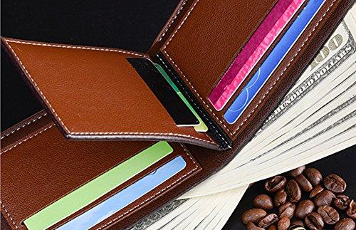 Katech Männer Business Geldbörse Geld und Kartenhalter Geldbörse Multifunktions-Taschen für den täglichen Gebrauch oder als Geschenk Kaffeebraun