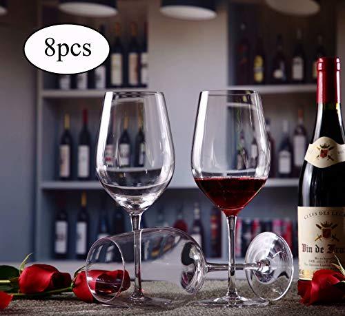 WJSX Mundschlag Burgunder Bleifreies Kristallglas Weinglas 8er-Set Geeignet für Verschiedene Weinanwendungen Pinot Noir, Gamay, Zweigelt, St. Laurent usw. Rotweinglas