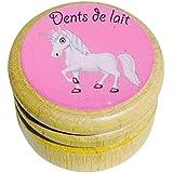 Boîte boite à dents de lait en bois pour en différents modèles pour garçons et filles avec couvercle à vis de 44 mm (Licorne)