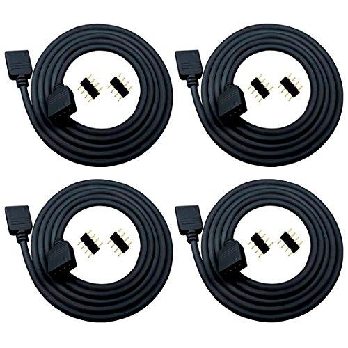 Schwarzes Kabel Band (Liwinting 4X 2m RGB LED Verlängerungs Kabel 4 Polig Anschlusskabel RGB Verbinden Kabel Sie den Stecker mit dem SMD 5050 3528 2835 RGB Streifen, LED Band Kabel, mit 8X 4 Polig Verbinder - Schwarz)