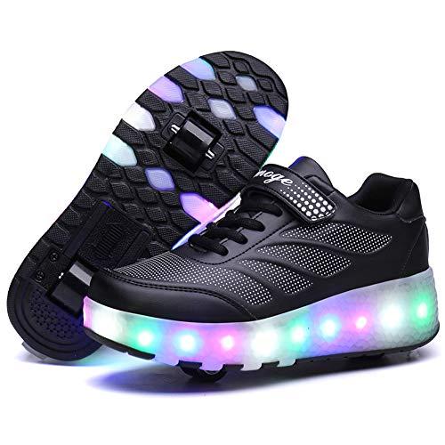 Recollect Kinder LED Schuhe mit Rollen Drucktaste Einstellbare Skateboardschuhe 1Räder/2 Räder Outdoor Gymnastik Turnschuhe Für Junge Mädchen,Black2,34EU