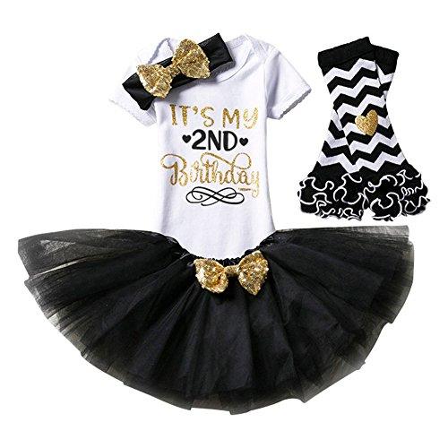 aby Mädchen Kleidung 1. 2. Geburtstag Geschenk Outfits Prinzessin Kleid Kinder Stück Romper + Rock Tütü Pettiskirt + Glitzer Bowknot Stirnband +Gamaschen (2 Stück Baumwolle Kostüme)