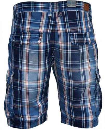 Motif à carreaux tendance de shine short cargo pour homme bleu Multicolore - Bleu