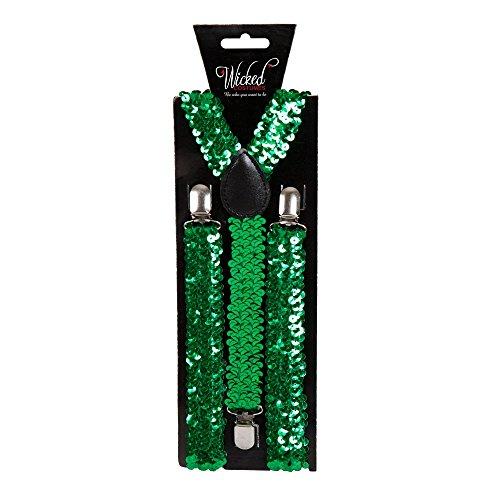 Adult Braces 96 x 2.5cm - GREEN SEQUIN (Min 12) **NEW** (5 Min Kostüme)