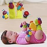 Bargain World 4pcs bebé infante animales lindos sonajeros de muñeca calcetines buscadores del pie juguetes de mano conjunto