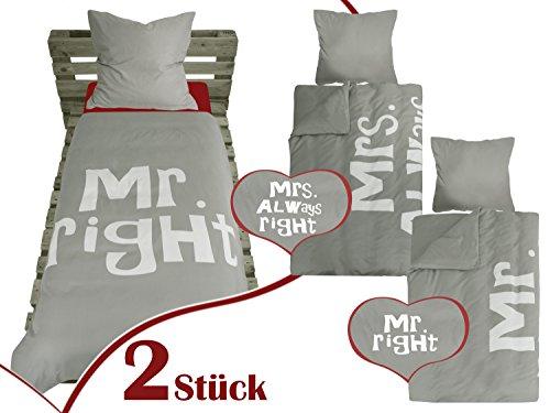 *Doppelpack – Bettwäsche mit Print – für Romantiker mit Sinn für Humor – 2-Teiliges Set aus Feinem Mikrofasergewebe, Mr. Right*
