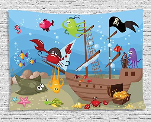 (ABAKUHAUS Pirat Wandteppich, Schiff Unterwassertiere, Wohnzimmer Schlafzimmer Heim Seidiges Satin Wandteppich, 200 x 150 cm, Mehrfarbig)