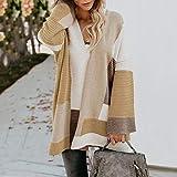Jejhmy Maglione Cardigan Maglione Donna Coordinato di Colore Geometrico Sciolto di Grandi Dimensioni,Pullover Femme,Pull Femm