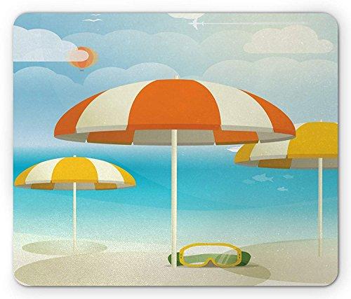 Beach Maus Pad, Sonnenschirme auf die Coast Summer Season Thema mit Flugzeug Vögel und Fische...
