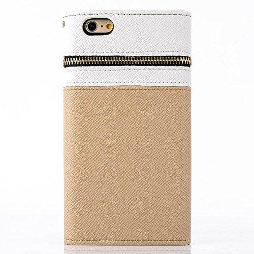 """inShang iPhone 6 Plus iPhone 6S Plus Coque 5.5"""" Housse de Protection Etui pour Apple iPhone 6+ iPhone 6S+ 5.5 Inch, Coque Avec ZIPPER + Pochette + Rivet Decoration, Cuir PU de premiere qualite+ Qualit zipper gold and white"""
