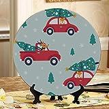 Piatti in ceramica stampati per auto e albero per vacanze natalizie Stampati per la casa Piastre per terrazze con decorazioni per espositori Piatti per la casa in ceramica