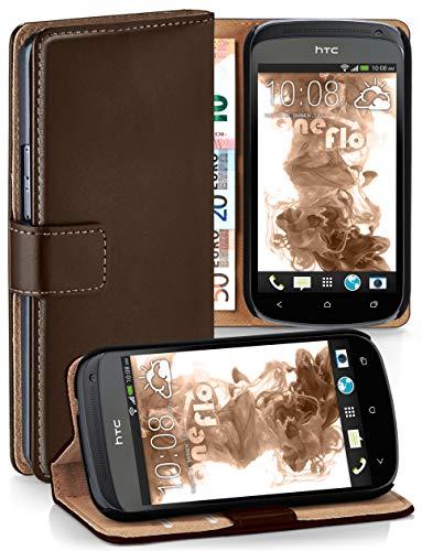 moex HTC One S | Hülle Dunkel-Braun mit Karten-Fach 360° Book Klapp-Hülle Handytasche Kunst-Leder Handyhülle für HTC One S Case Flip Cover Schutzhülle Tasche