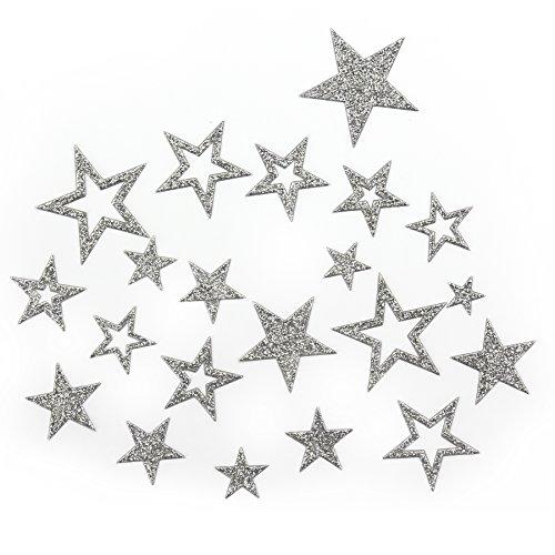 Sterne (Sternen Sticker in Gold oder Silber - Glitzernde Funkelnde Sterne (Silber))