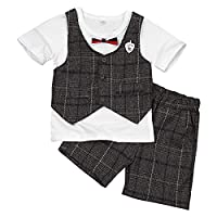 Freebily Infant Boys Kids 2PCS Summer Plaid Gentleman Outfit Short Sleeves T-shirt + Shorts Formal Tuxedo Suit White & Coffee 18-24 Months