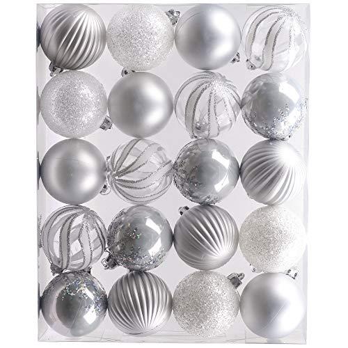 Victor's workshop palline di natale 20 pezzi 6cm, decorazione dell'albero di natale plastica bianco argento, addobbi e decorazioni natalizi, regali dei ciondoli e pendenti di natale, christmas ball